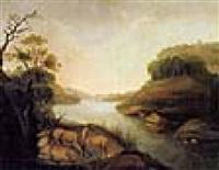 bewaldete landschaft mit einem see und ruhendem rotwild by joh. ludwig weber