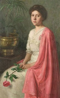portrait of a young woman in a pink cape by lee lufkin kaula