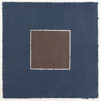 colored paper image xx (brown square with blue) by ellsworth kelly