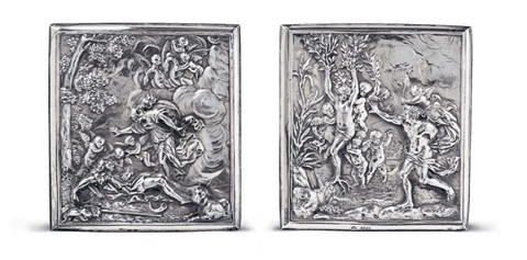 two silver gilt reliefs