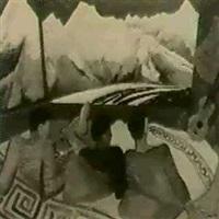 drei manner in der berghutte mit ausblick auf das gebirge by lev simak