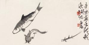 三余鱼 (fish) by qi baishi
