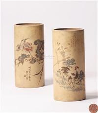 段泥花鸟帽筒 (a teapot) by ren ganting