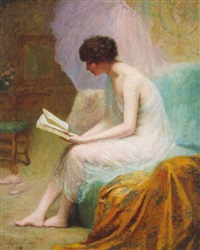 a young beauty reading by louise amelie landre