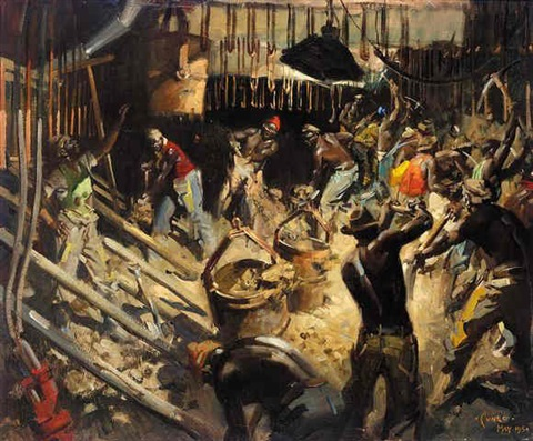 shaft collar during construction at a gold mine in the orange free state by terence cuneo