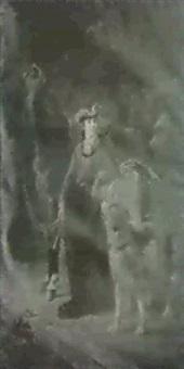 portraet af kejserinde eugeniestaende i ridedragt med sin  hestog hund by oliver pichat