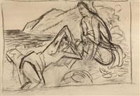 zwei weibliche akte am strand by hans jüchser