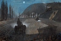 an evening landscape with a train by zdenek miler