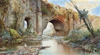 a river running under an aquaduct on the roman campagna by ettore roesler franz