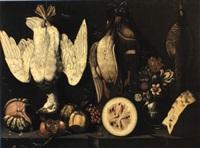 nature morta con angurie, melangrana, mela, vaso di fiori. . . by astolfo petrazzi