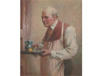 man carrying a tray of drinks mine host by frederick-davenport bates