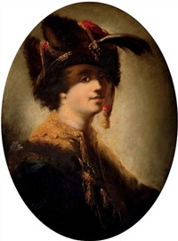 portrait of a gentleman in a golden oriental coat and fur-trimmed cloak, with a fur hat adorned with a plume by matthäus loder