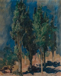 landscape with trees by leopold pilichowski