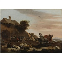 landscape with herders tending to their livestock outside of a barn by jacob van der does the elder