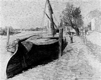 barges at low tide by george hugh tabor