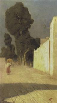 italian village scene by francesco raffaello santoro