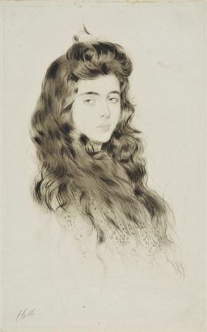 jeune fille aux longs cheveux by paul césar helleu