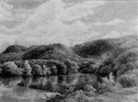 a placid river set in a wooded landscape by george l. harrison