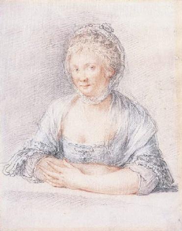 un portrait de femme portant une coifee by jacques andré portail