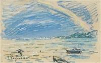 arc en ciel sur l'étang berre by auguste pegurier