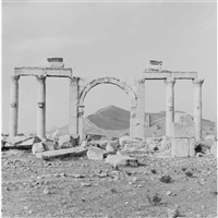 archway with mountain, palmyra, syria by lynn davis
