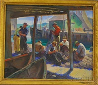 mending the nets on the wharf by richard a. holberg