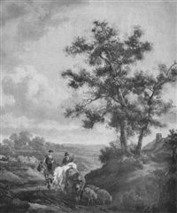 rustics with cattle and sheep on a country path by henry milbourne