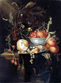still life of a peeled lemon with prawns and whitecurrants on a pewter dish, with peaches and fraises-de-bois in a blue-and-white porcelain bowl, cherries and a roemer, all upon a partly draped table by harmen loeding