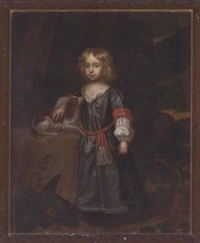 portrait of sir hugo briggs in a grey dress, holding a bow and arrow in his left hand with a spaniel by his side by charles d' agar
