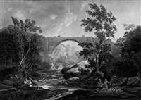 a view of tanfield arch in the county of durham by joseph constantine stadler