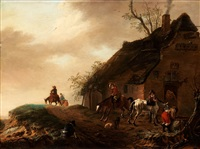 resting people and horses outside an inn by philips wouwerman