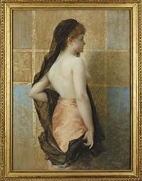 jeune femme vue de dos, portant un voile noir et une jupe rose by edouard-marie-guillaume dubufe