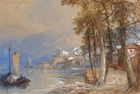 italian lake scene with mountains in the distance by edward richardson