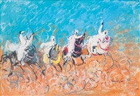 4 cavaliers sur fond bleu by hassan el glaoui