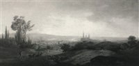 a view of rouen from mount au mallade by joshua, r.a. bryant