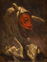 joven con máscara by manuel monedero