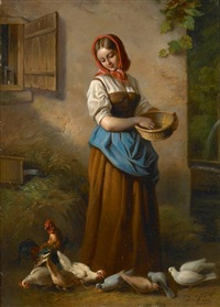 a peasant woman feeding chickens by joseph haier