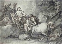 apollo handing the infant asklepios to the centaur for education by giuseppe piattoli