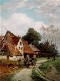 pastoralt landskap med figurer by francois leroy