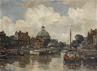 a view of the lutherse kerk, amsterdam by frans langeveld