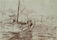 guilvenec, quai de déchargement - bateau de pêcheur (2 works) by farid aouad