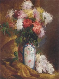 chrysanthemums in an oriental vase on a draped table by krantz