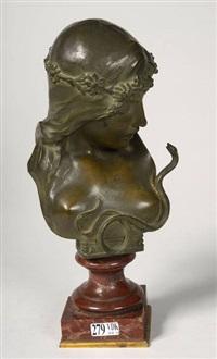 buste de jeune fille au serpent by isidore de rudder