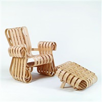 power play armchair and ottoman by frank gehry