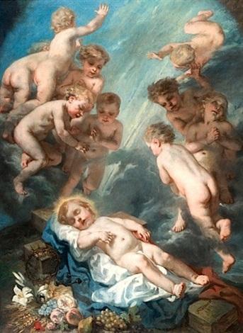 le christ enfant avec les instruments de la passion dans une nuée dangelots by nicolas françois octave tassaert