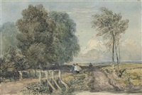 figures walking on a country track by david cox the elder