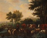 paysage animé d'un berger aux vaches by adriaen van de velde