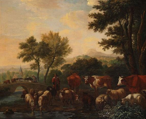 paysage animé dun berger aux vaches by adriaen van de velde