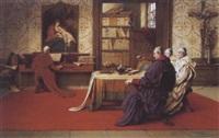 mönche in der bibliothek der musik lauschend by richard linderum