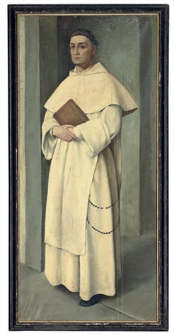 a portrait of a padre domenicano, full-length, holding a bible by maria bacci-baccio